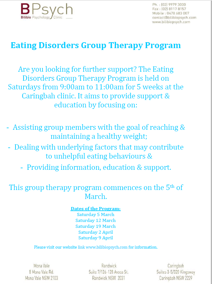 Eating Disorders Group Therapy Program